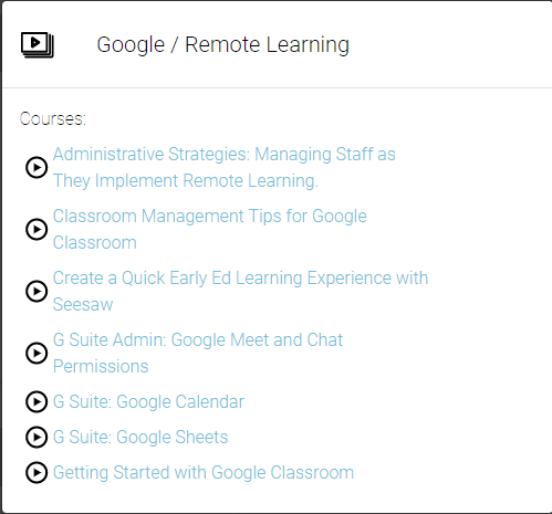 Google/Remote Learning Playlist