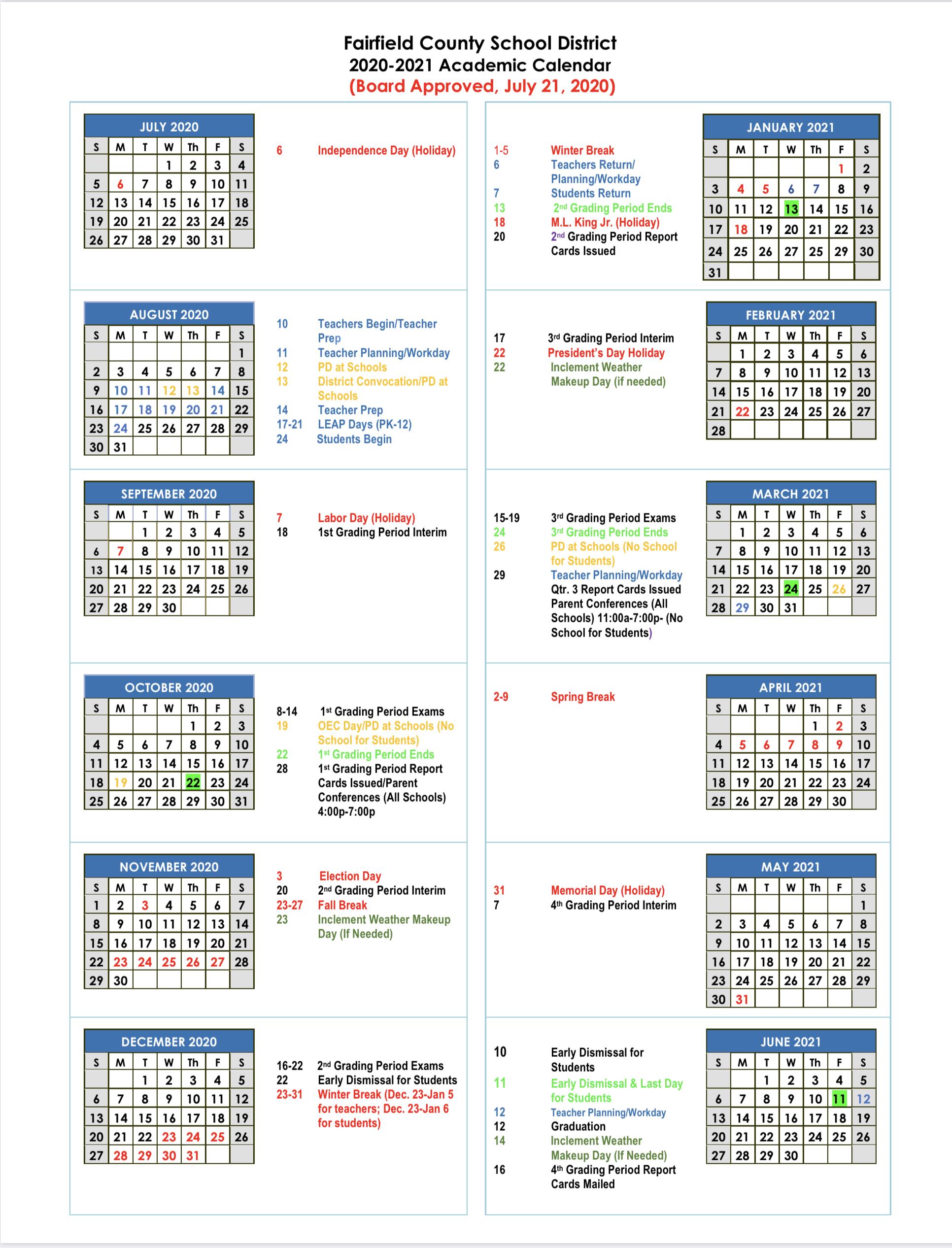 Fairfield Academic Calendar 2021 - Calendar 2021