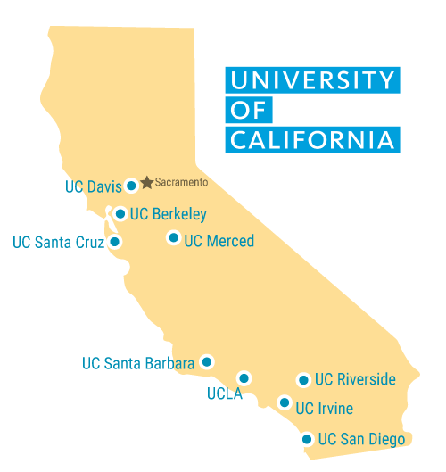 Map of all 9 University of California Campuses