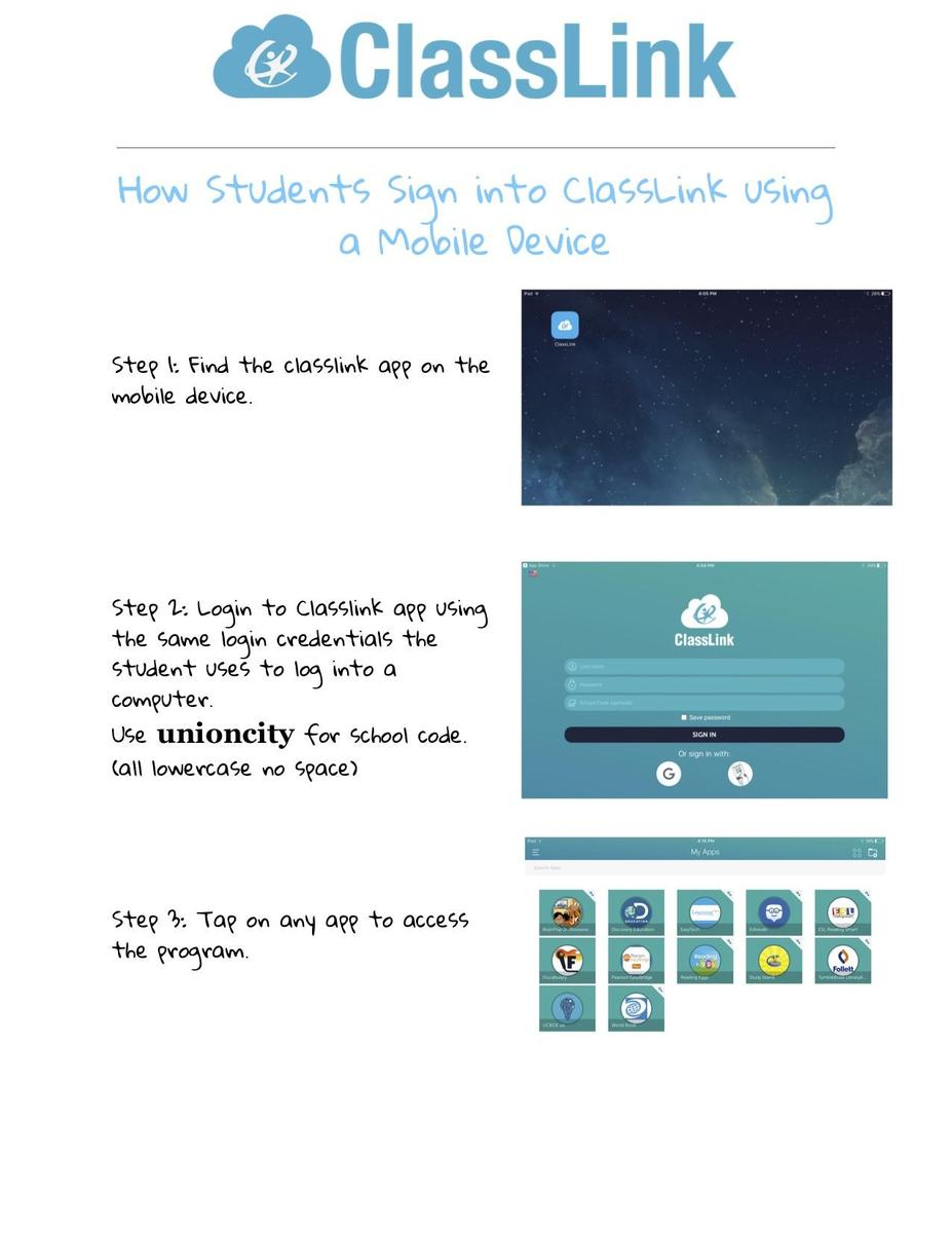 classlink instructions for students and mobile devices and link