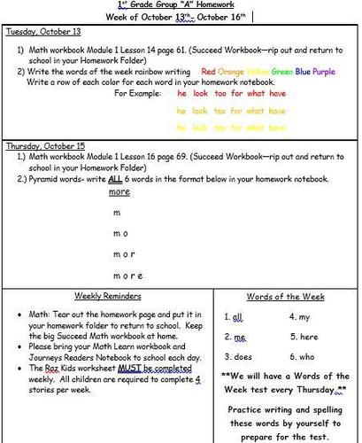 Homework for the Week of 10/13-10/16