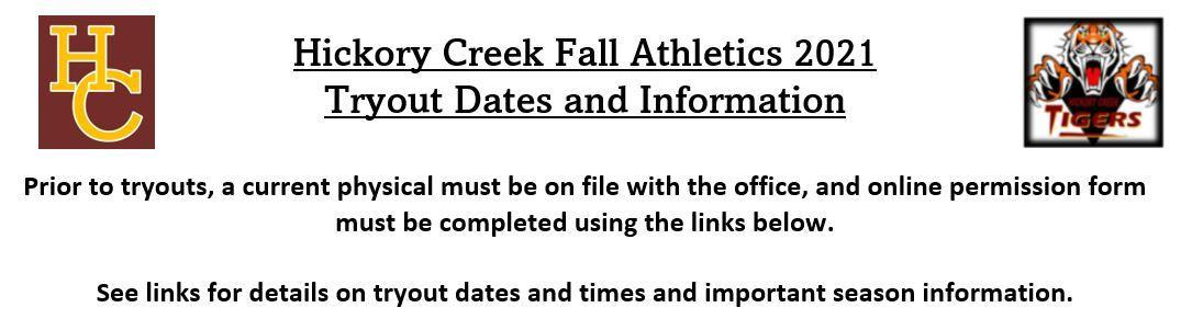 Hickory Creek Fall Athletics 2021 - Tryout Dates and Information