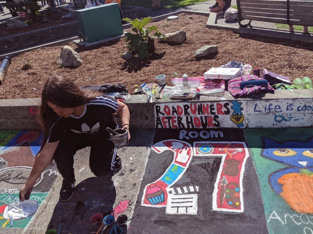 We love art at SBMS! One of our students dedicating her weekend to creating art for Pastels on the Plaza.