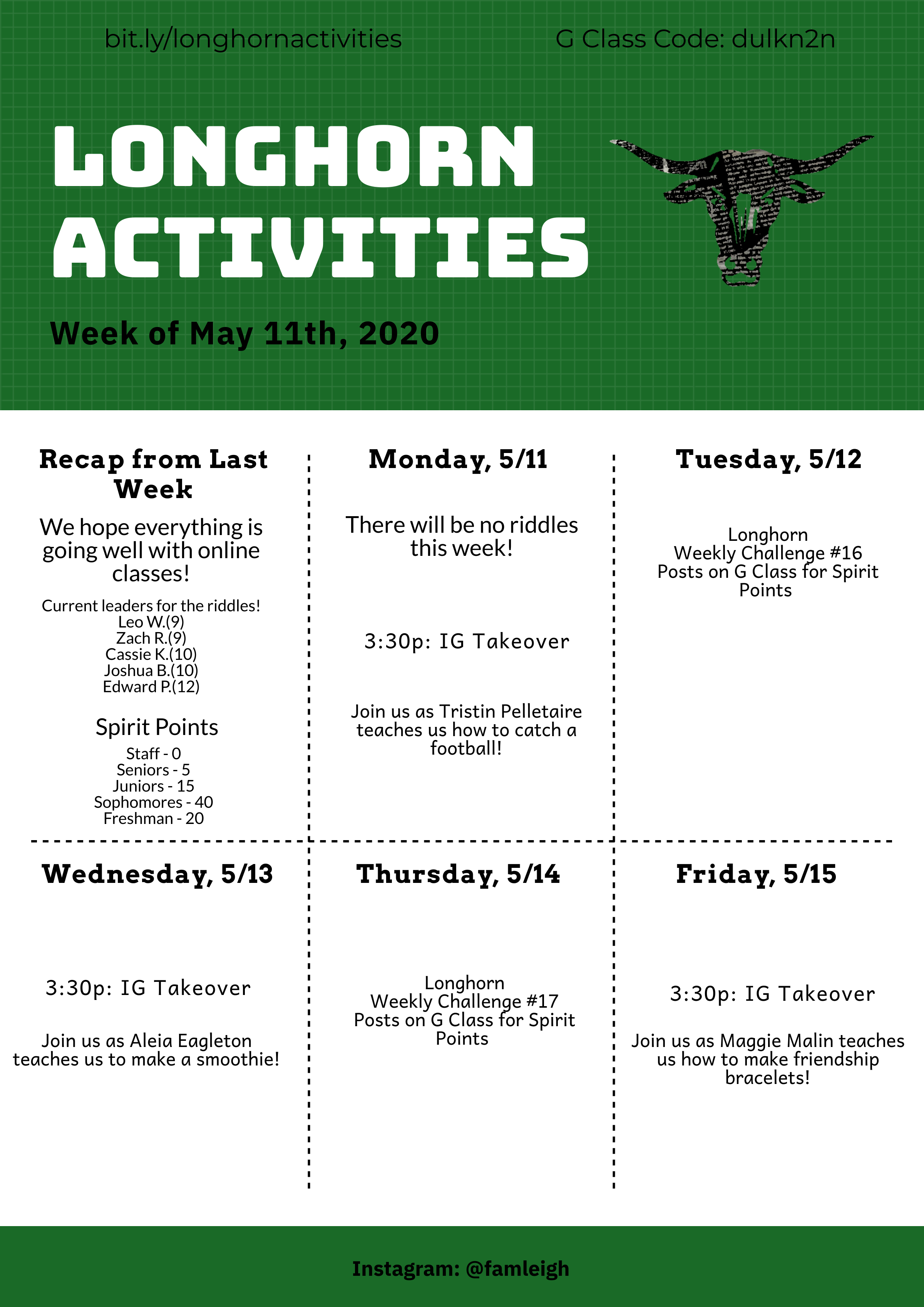 Activities Week of May 11th