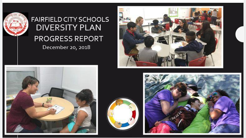 This is an image of the front page of the Diversity Plan Progress report that was presented to theb school board in December 2018. There are images of diverse students in classrooms, one photo of a translator working with a student; and a third with two intervention specialists on a blanket with a student with special needs.
