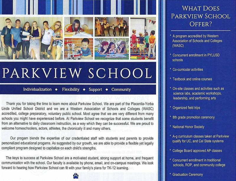 Parkview School Program Overview 2019-2020