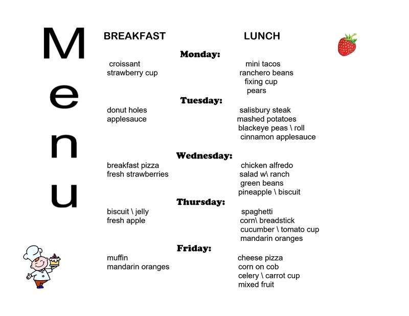 March 1 - 5 Breakfast/Lunch menu (click here) Thumbnail Image