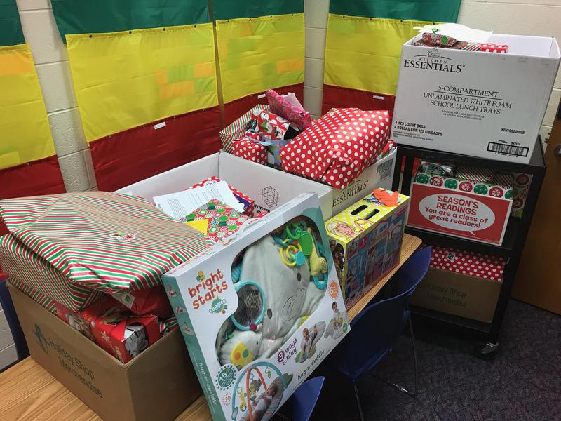 A picture of a few of the gifts wrapped from the giving tree.