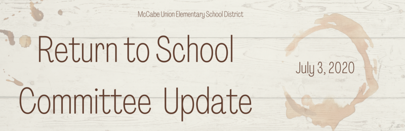 Return to School Committee Update - July 3, 2020 Thumbnail Image