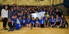 The WSISD Education Foundation's Soccer Kick contestants are pictured with the 2017-2018 Lady Bear and Brewer Bear varsity team members. Jessica Gautreau from Brewer Middle School won the competition.