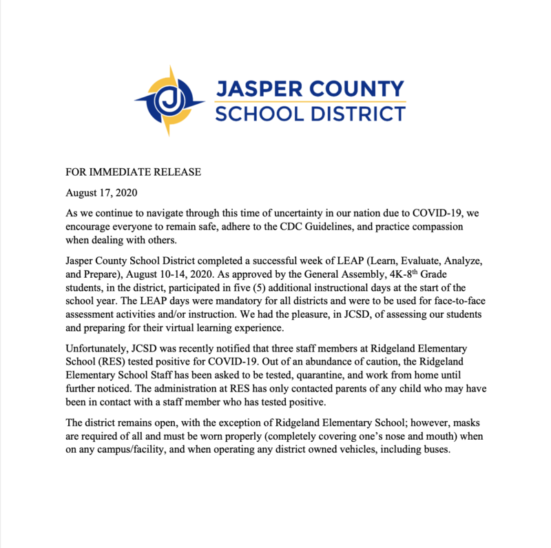 Ridgeland Elementary School Closure