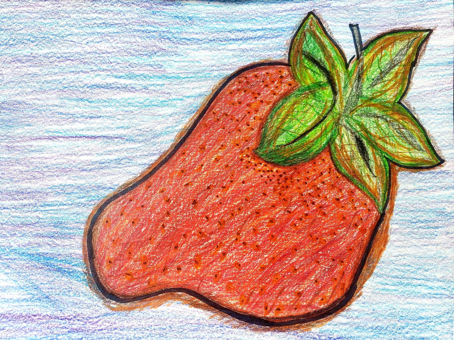An elementary school student's realistic color pencil drawing of a strawberr