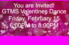 Valentines Dance February 15 from 6:00 to 8:00PM