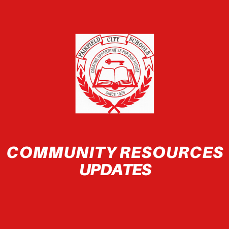 Graphic that reads Community Resources Updates