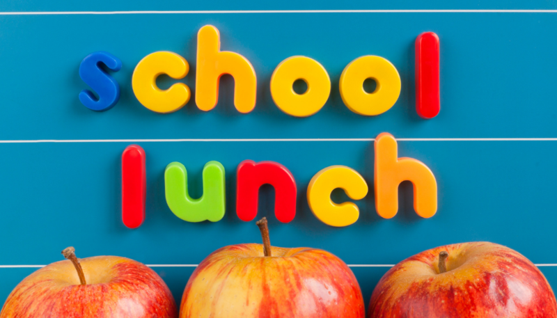 apples with the words school lunch spelled out