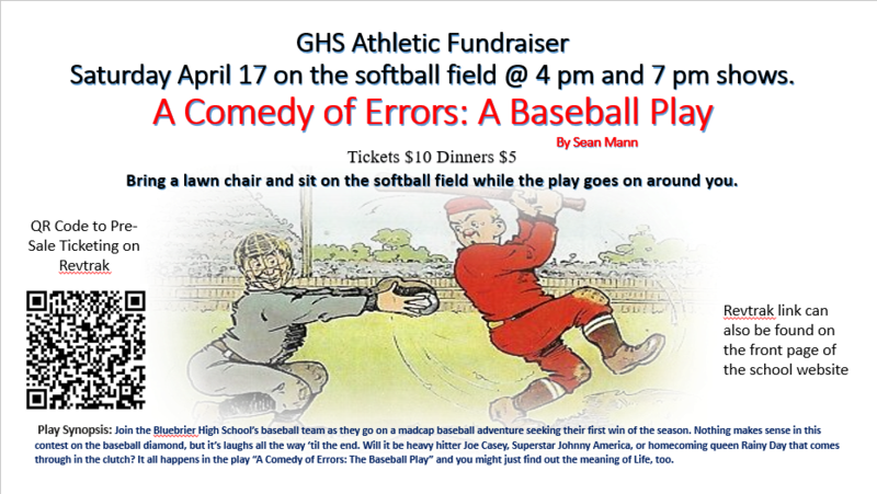 Mr. Mann has written a very humorous play that will be presented outdoors at the softball field on Saturday April 17, at 4 and 7 pm. This is a great opportunity for our faculty, students, and community to gather and celebrate our awesome athletic teams and their efforts to raise funding for their continued success.