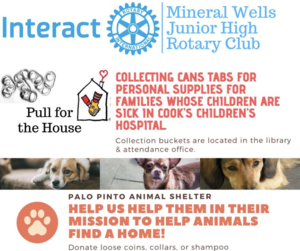 MWJH Interact Club is Collecting Can Tabs for the Ronald McDonald House.  Collection buckets are located in the library and attendance office.