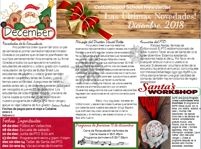 December Newsletter in Spanish.