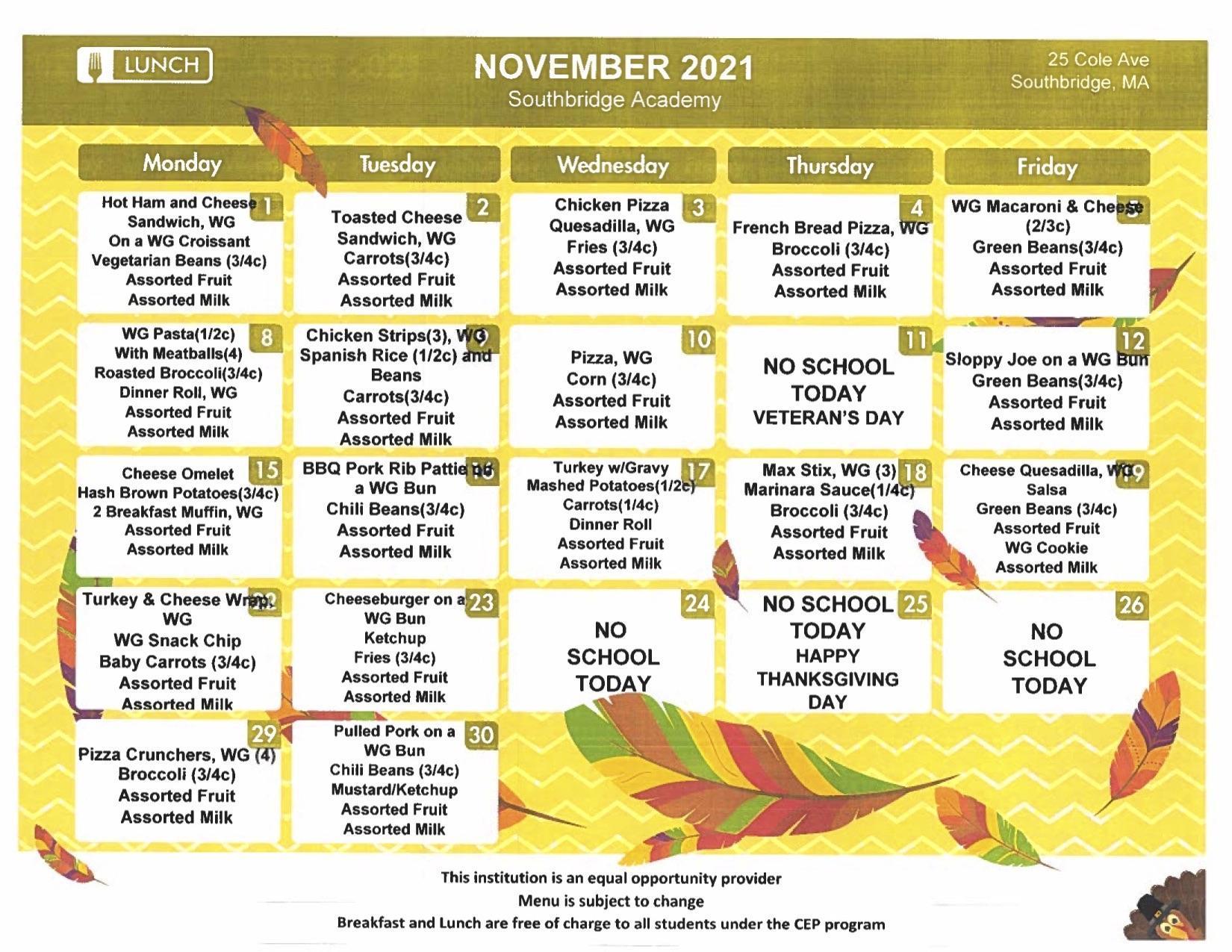 Southbridge Academy menu November 2021