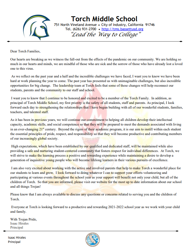 Parent Welcome Letter 2021-2022