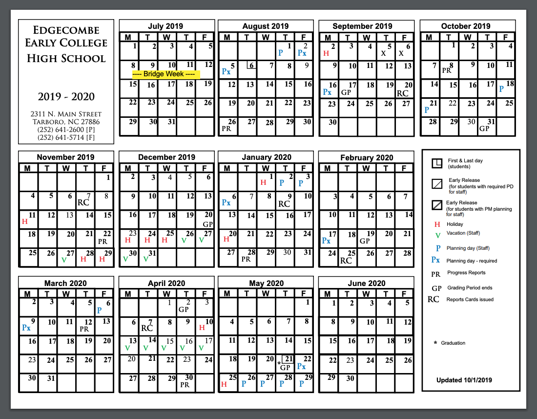 Edgecombe Early College 2019 Calendar