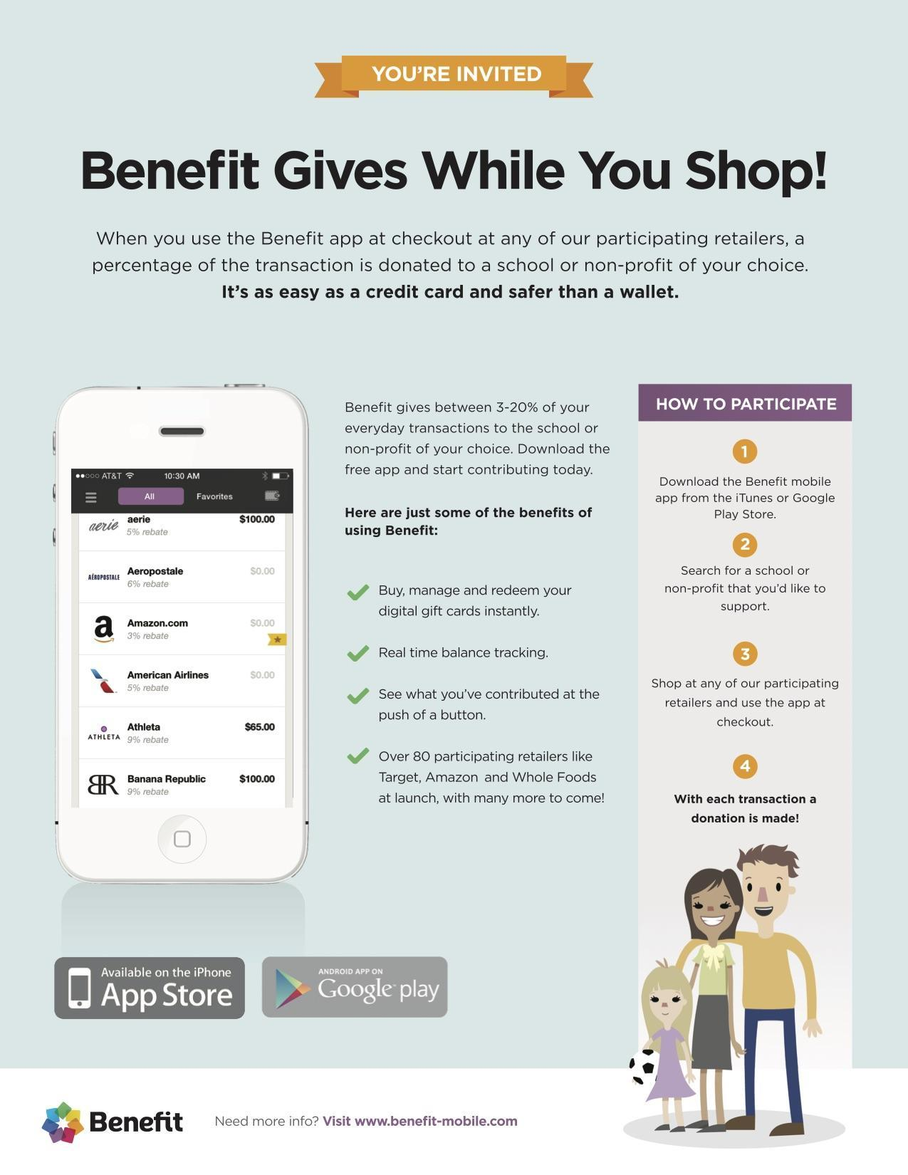 A picture and information for the Benefit Mobile Application.