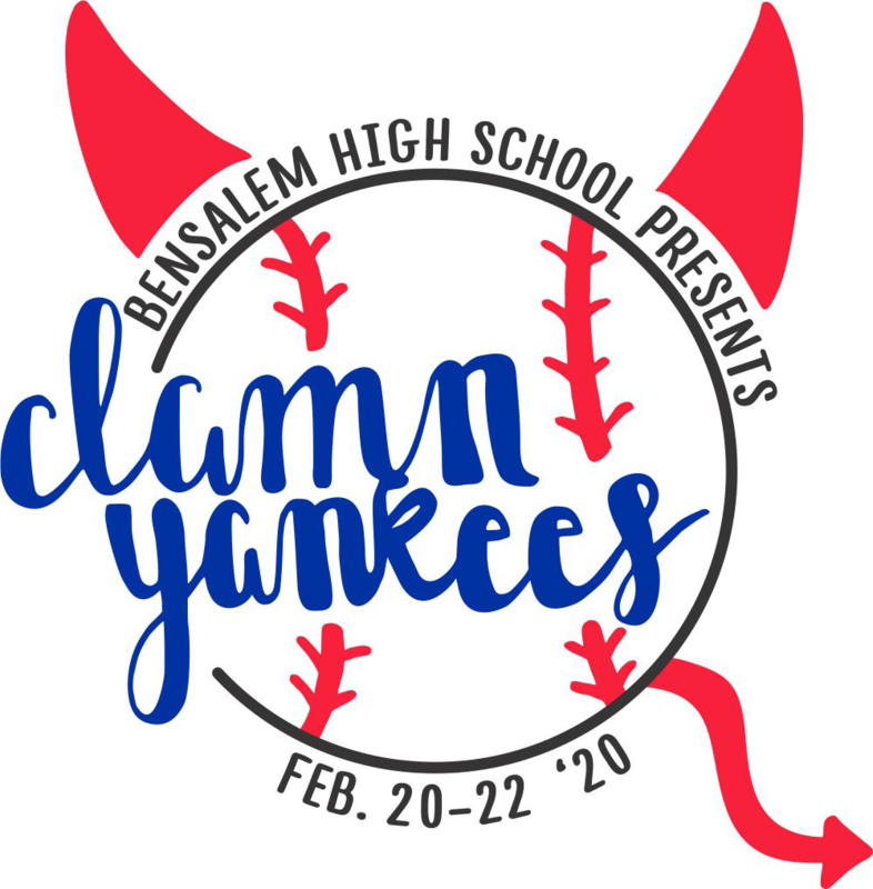 Baseball with the words damn yankees, surrounded by Bensalem High School presents