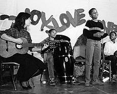 Van Cleve students at a performance circa 1986