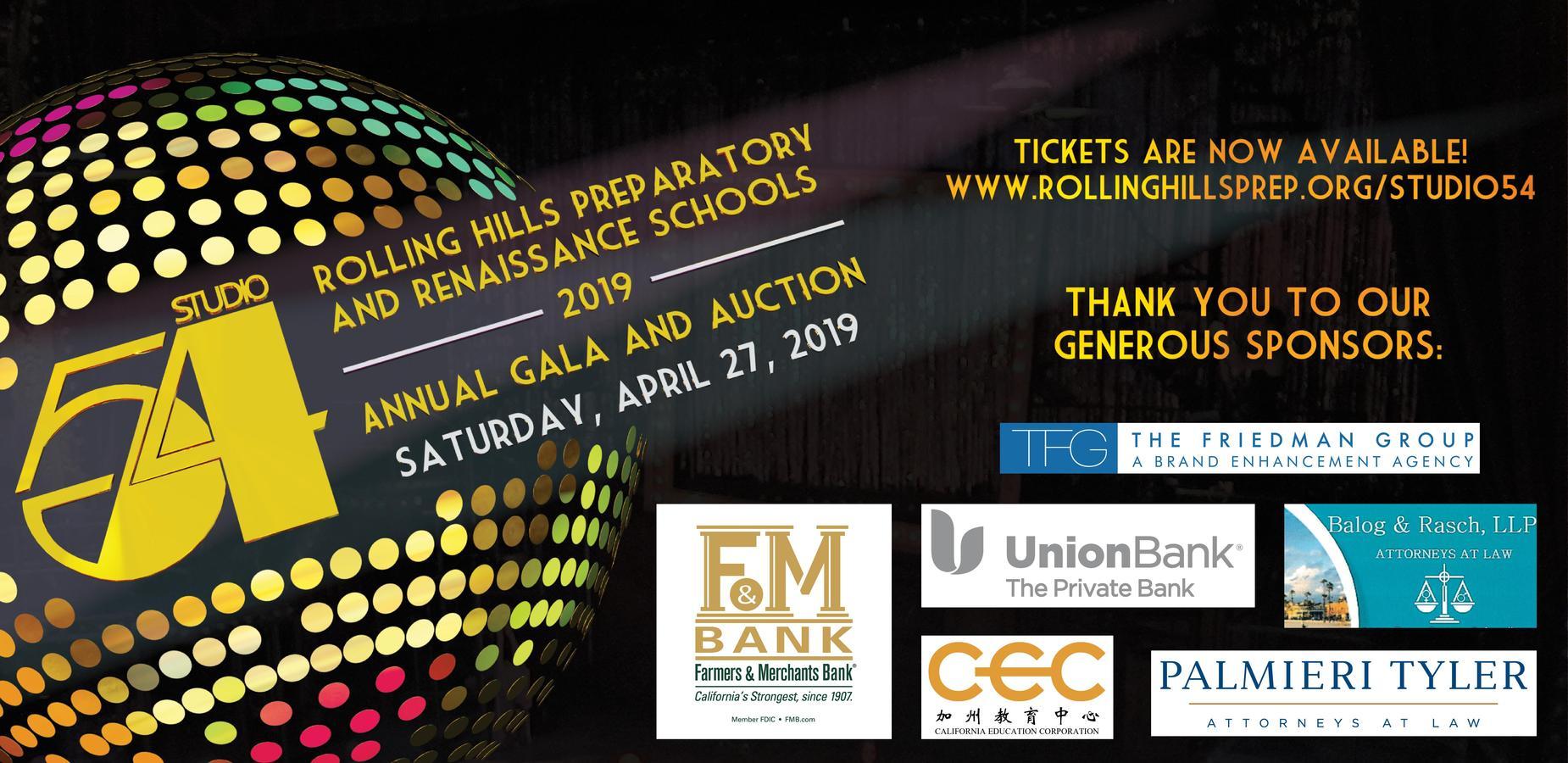 Studio 54 Gala Banner - April 27, 2019, Crowne Plaza Redondo Beach. For more information, visit RollingHillsPrep.org/studio54