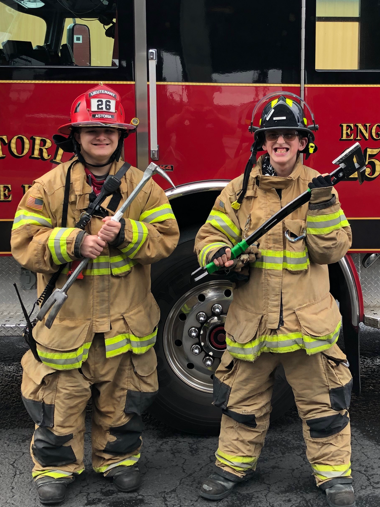 Students dressed up as firefighters
