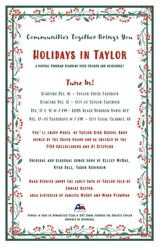 holidays in taylor