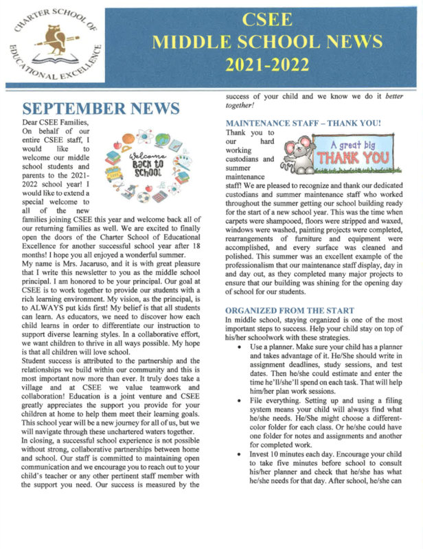 September Newsletter - Middle School Featured Photo