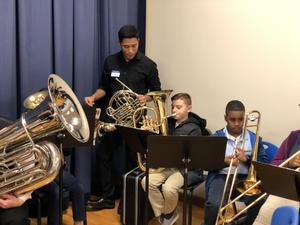 Brass students with instructor
