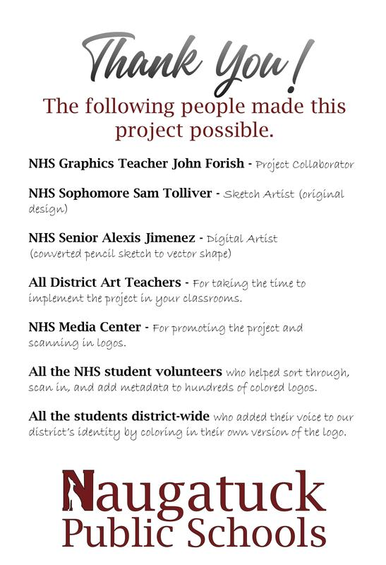 Thank you! The following people made this project possible.   NHS Graphics Teacher John Forish - Project Collaborator  NHS Sophomore Sam Tolliver - Sketch Artist (original design)  NHS Senior Alexis Jimenez - Digital Artist  (converted pencil sketch to vector shape)  All District Art Teachers - For taking the time to implement the project in your classrooms.  NHS Media Center - For promoting the project and scanning in logos.  All the NHS student volunteers who helped sort through, scan in, and add metadata to hundreds of colored logos.  All the students district-wide who added their voice to our district's identity by coloring in their own version of the logo.