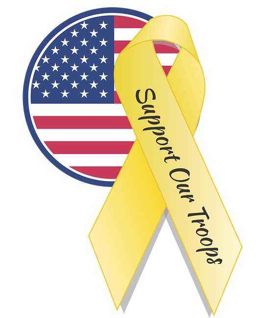 American Flag and yellow ribbon
