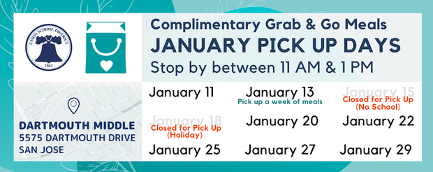 Food Services regular weekly Garb and Go Meals starting on January 11th. Featured Photo