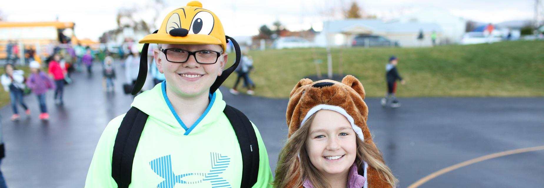 Riverbend hat day: Pluto hat, scooby doo hat.