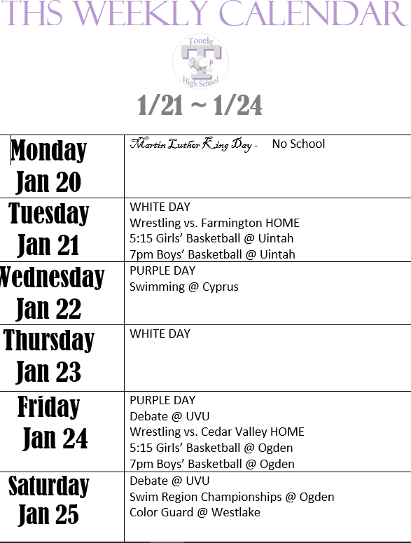 Jan 21- Jan 24 Weekly Calendar