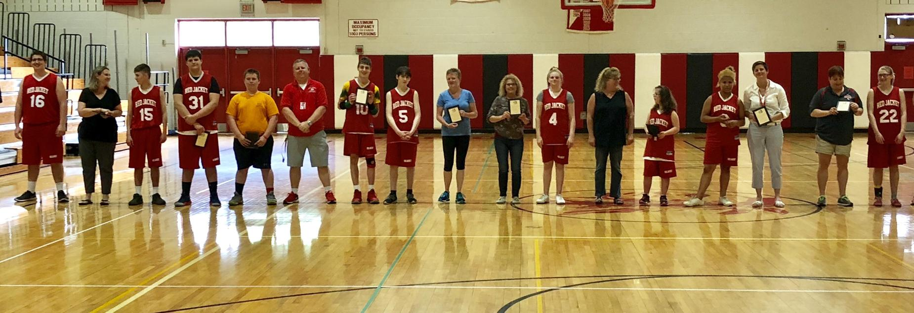 Unified Basketball Team honoring their biggest supporters