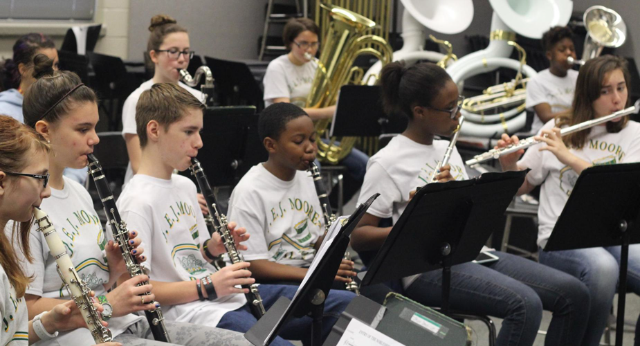 Students performing music at J.E.J. Moore Middle