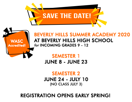 Save the date! BHEF summer school academy 2020 runs from June 8 - July 10 (no class July 3). Registration begins early Spring!