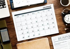 Photo of a desk calendar.