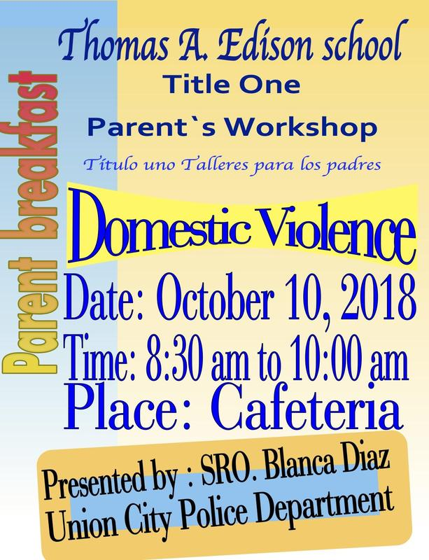 domestic violence parent breakfast workshop flyer/invitation
