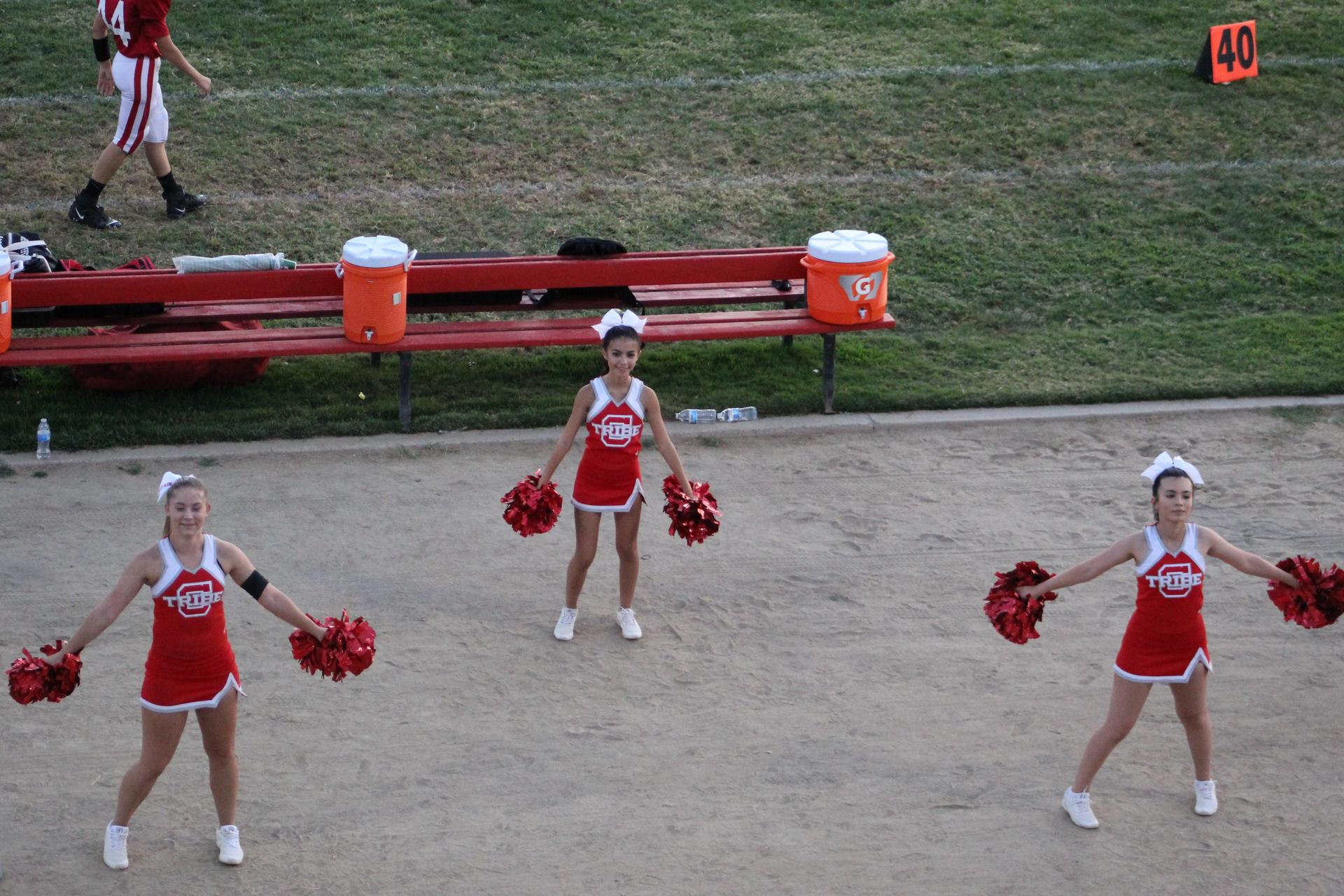 Junior Varsity Cheer in action at the Mendota football game