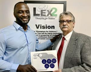 Radius Church Pastor Derrick Liferidge, left, with Lexington Two School Superintendent Dr. William B. James Jr.
