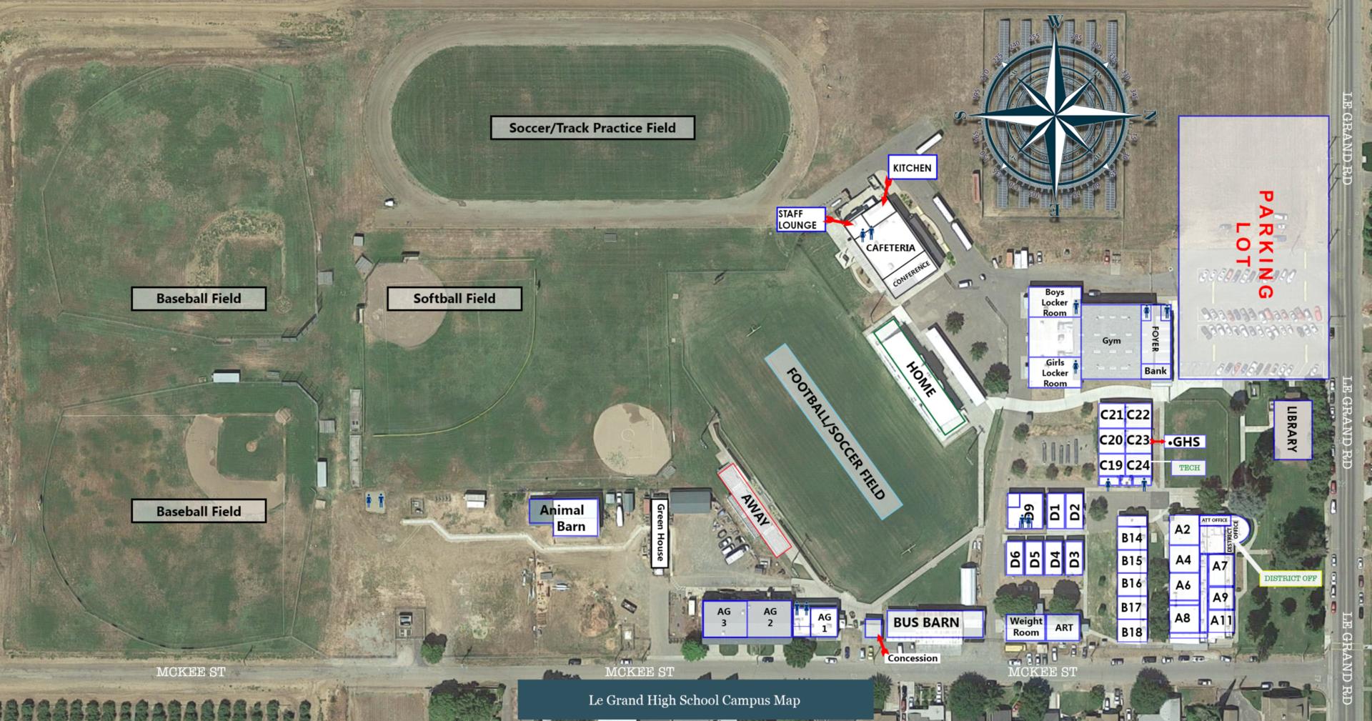 Le Grand High School Campus Map
