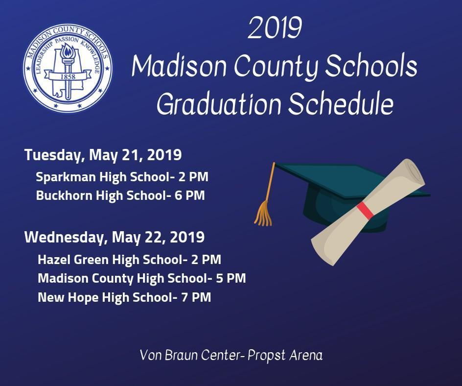 MCSS 2019 Graduation Schedule