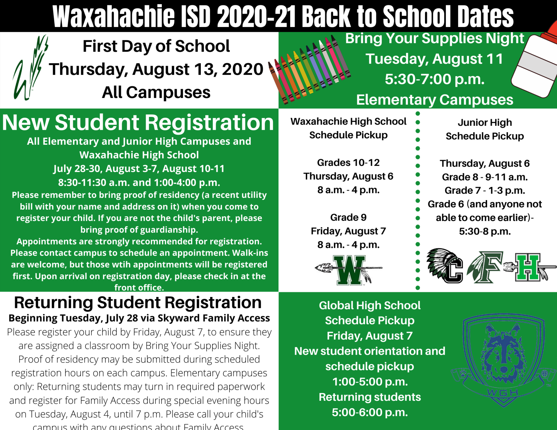 graphic with back to school info
