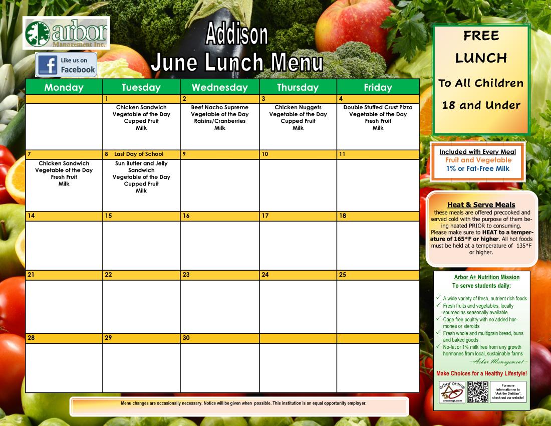June lunch menu