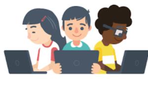 kids looking at computers